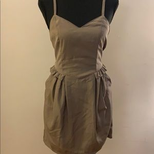Taupe Mini Dress w/ Pockets - Never Worn!
